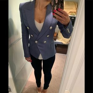 NWT Balmain Slate blue SHW button blazer 36